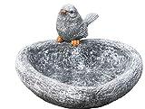 Vogeltränke Herz mit Steinfigur Vogel