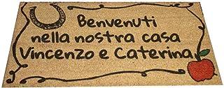 Zerbino Personalizzato da interno - Ferro Cavallo, Mela e Tuo Testo - in cocco naturale cm. 100x50x2 LOVEDOORMAT Marchio R...