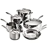 Tramontina 80116/249DS Gourmet Stainless Steel Induction-Ready Tri-Ply Clad 12-Piece Cookware Set,...