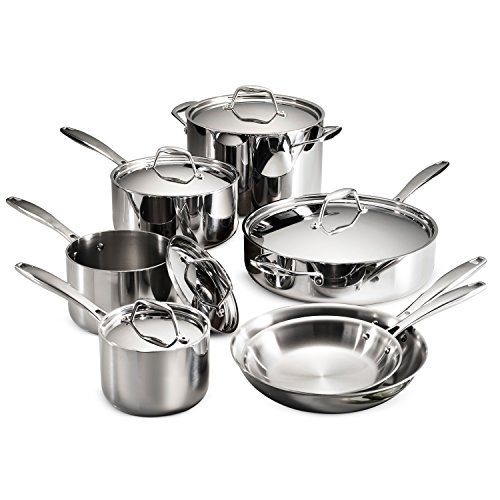 Tramontina 80116/249DS Gourmet Stainless Steel Induction-Ready Tri-Ply Clad 12-Piece Cookware Set, NSF-Certified, Made in Brazil