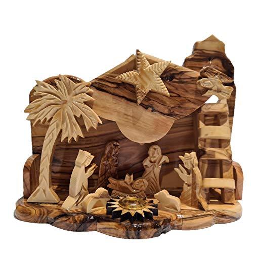 Presepe musicale artigianale intagliato in legno di ulivo ornamento da tavola di Natale