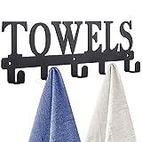 Towel Holder for Bathroom ,Towel Racks, Towel Hooks Door Hooks for Bathroom, Bedroom, Kitchen, Pool, Beach Towels, Bathrobe, Clothing, Metal Sandblasted Wall Mount Rustproof and Waterproof(Black)