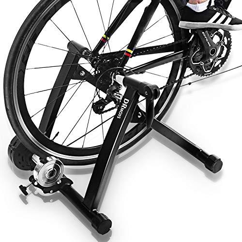 DRMOIS Rollentrainer Fahrradtrainer Indoor Fahrrad Heimtrainer klappbar inkl. Schaltung mit 6 Gänge für Rennrad 26