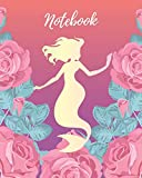Notebook: Mermaid with Pink Rose - Lined Notebook, Diary, Track, Log & Journal - Cute Gift for Girls, Teens and Women (8' x10' 120 Pages)