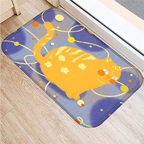Alfombra antideslizante de gamuza antideslizante con diseño de búho y gato de dibujos animados, felpudo para puerta, felpudo para cocina al aire libre, alfombra para sala de estar, alfombra A1 40x60cm