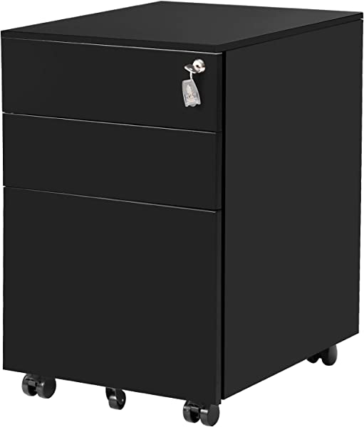 ModernLuxe File Cabinet 3 Drawer Metal Mobile File Cabinet With Lock Fully Assembled Except Casters Black