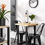 LAMO Manufaktur Beistelltisch Baumkante Couchtisch Küchentisch 60x60x76 cm (LxBxH), Classic, Esche Roh/Schwarz, LBB-01-A-001-9005Cl - 5