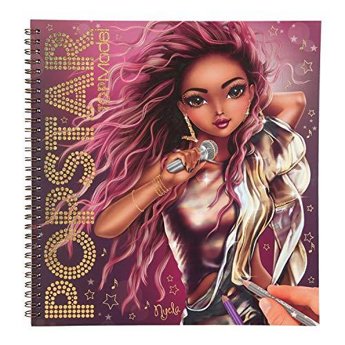 Depesche 11462 TOPModel - Malbuch Popstar, 60 Seiten zum Gestalten cooler Bühnen-Outfits, inklusive Schablonen und Sticker