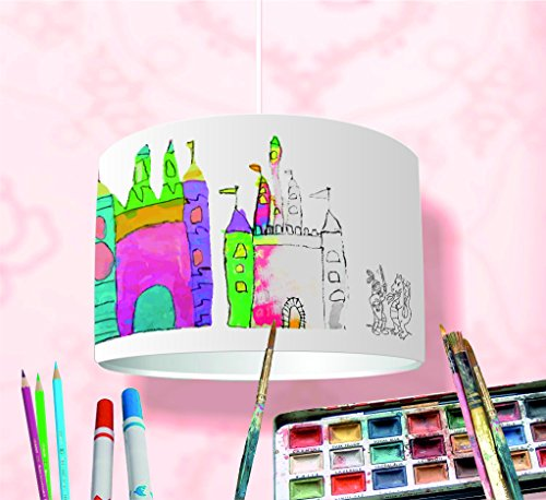 Bastelset DIY Lampenschirm - KL32 - Bemale Deinen Lampenschirm ✓ 16-teiliger Bausatz ✓ Kinderlampe selbst gestalten ✓ Bastellampe für Kinder ideal als Deckenlampe, Hängelampe, Tischlampe oder Stehlampe – Kinderzimmer-Lampe selber machen