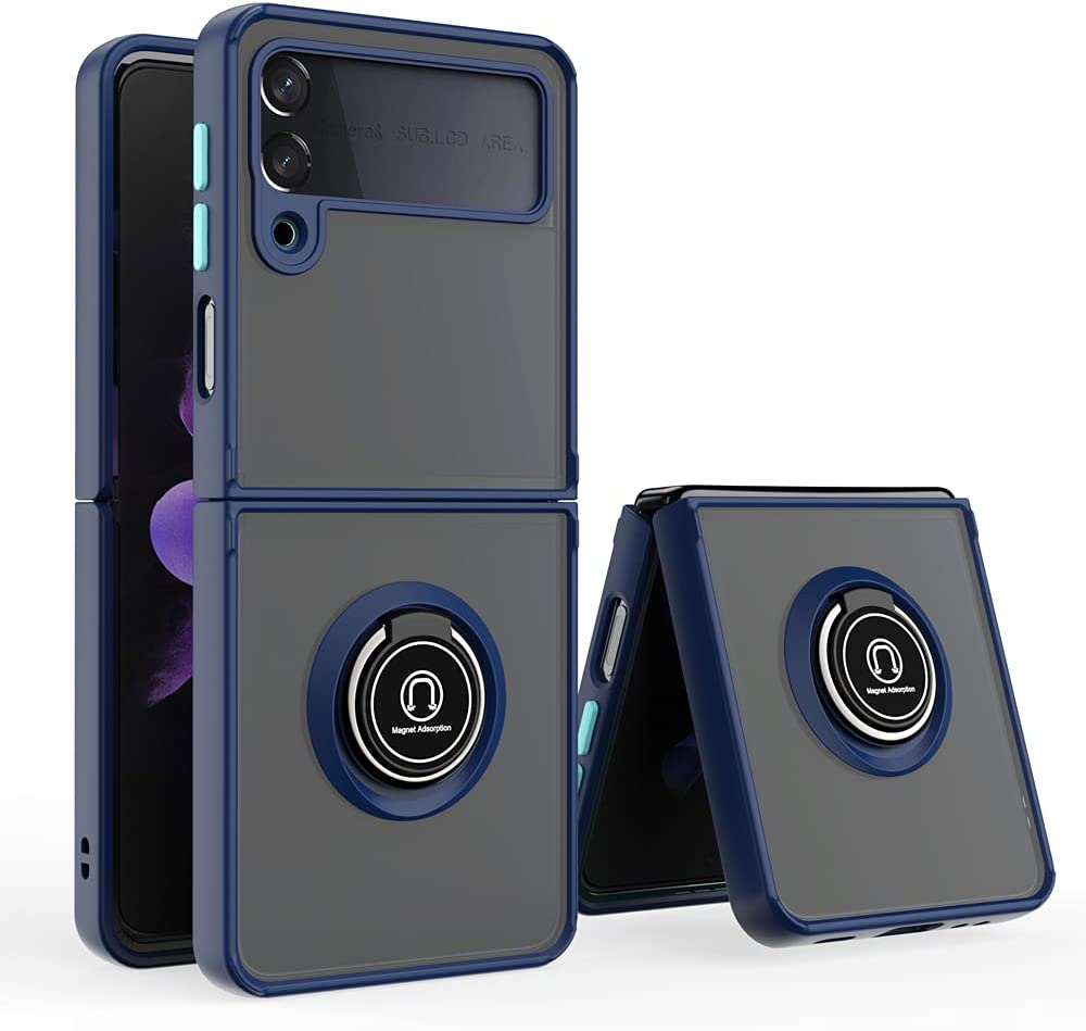 Futanwei Translucent Matte Cases for Samsung Galaxy Z Flip 3 5G Case, Military Grade Shockproof Protective Case Cover with Ring Holder Stand/Kickstand for Samsung Galaxy Z Fold3 5G (2021), Navy