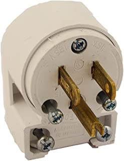 Leviton 515AN 3W Straight Blade Grounding Plug, 1-Pack, White