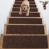 "Non Slip Carpet Stair TreadsNon-Slip Soft Carpet Strips for Indoors Safety Anti Slip Step Rug Grips for Wood and Marble Floors to Prevent Slippery Surfaces Non Skid Runners 8"" x 30"" (Brown, 7Pack)…"