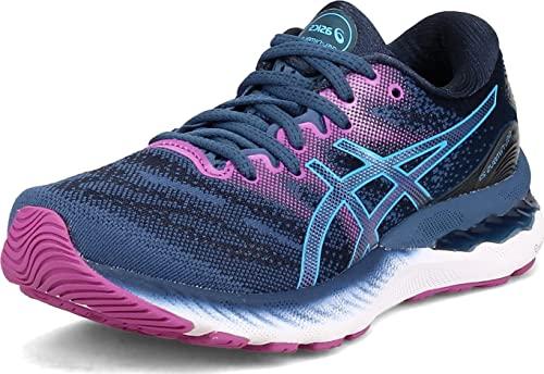 ASICS Women's Gel-Nimbus 23 Running Shoes, 8.5, Grand Shark/Digital Aqua