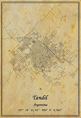 Carte du Tandil Argentine - Impression sur toile - Style vintage - Sans cadre - 28 x 35 cm
