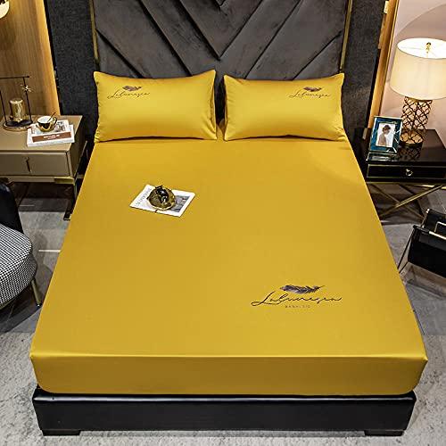YFGY Sábana Bajera Ajustable para Cama Double 150x200cm, Funda de colchón de Colcha cepillada de Color sólido de algodón, Juego de Funda de Almohada Apartamentos de Dormitorio Amarillo 3pcs