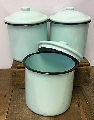 Vintage Style Metal Enamelware Canister Three Piece Set Classic Turquoise Blue Country Cabin Farmhouse Log Home or Stylish Rustic Decor