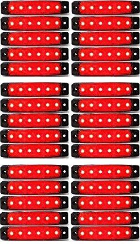 30 x LED côté arrière tracé 24 V Marqueur Rouge LED