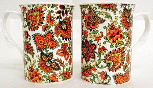 Motif cachemire Set de 2 Mugs Tasses en porcelaine fine Motif orange Paisley décoré à la main au Royaume-Uni
