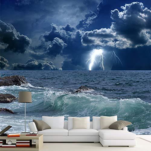Preisvergleich Produktbild ZAMLE Benutzerdefinierte 3D Wandbild Wallpaper Roll Sea Clouds Lightning Schlafzimmer Wohnzimmer Tv Sofa,  250X175 Cm (98.4 By 68.9 In)
