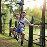 Jugader 160FT Zip Line for Backyard with Cable Tensioner Kits, Trolley, 304 Cable, Harness and Seat, Spring Brake