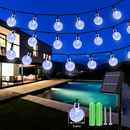Solar String Lights, 59Ft 100 LED Globe String Lights, Solar Fairy Garden Lights Waterproof 8 Modes Indoor Outdoor Balcony Lights for Christmas, Bedroom, Patio, Gazebo and Wedding Decor (Cool White)