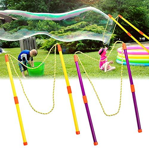 Yisscen Bolle di Sapone 2 Paio Bacchetta Bolle di Sapone Bambini Bolle di Sapone Giganti Giocattoli Bastoncini di Bolle per Festa di Compleanno,Matrimonio,All'aperto Giardino