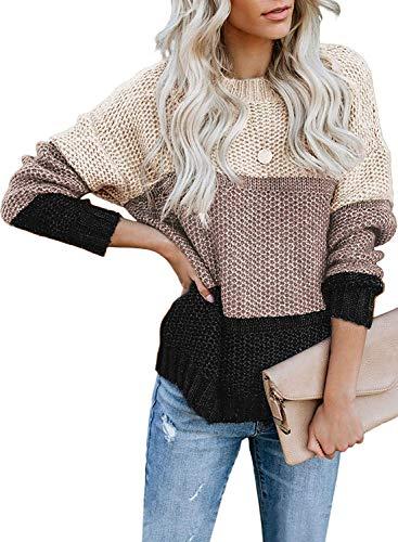 Cassiecy Damen Pullover Streifen Strickpullover Farbblock Casual Pullover Streifen Pullover Winter Pullover Sweatshirt(bkh,l)