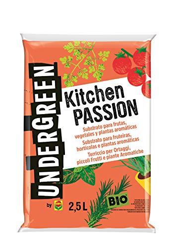 UNDERGREEN Kitchen Passion Frutas, Vegetales y Plantas aromáticas, Apto para Agricultura ecológica, Substrato de Cultivo, 2.5 L, 2.5L
