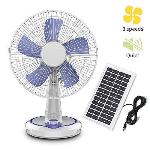 GMRZ Tragbarer Solar Ventilator, Leiser Tischventilator Mit 3 Geschwindigkeiten Und 2 Stromversorgungsmethoden Oszillierender Fan Für Home Outdoor Camping, Mit Sonnenkollektoren,12 inch