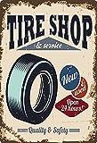 Cartello in metallo 20 x 30 cm Tire Shop & Service Garage Pneumatico officina Auto Tin Sign