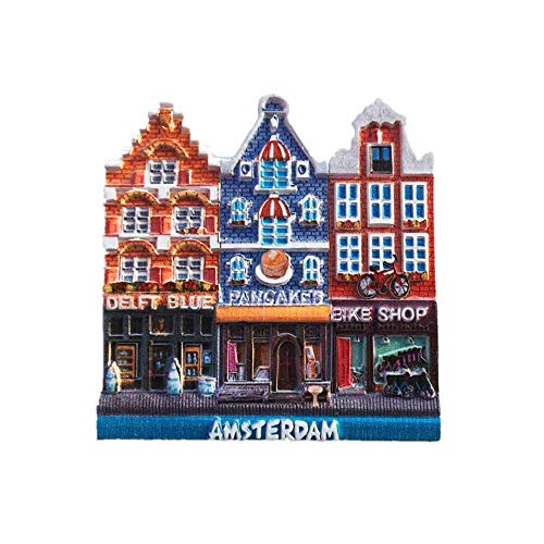 Time Traveler Go Imán para nevera de edificio de Amsterdam Países Bajos, regalo de recuerdo 3D para decoración del hogar y la cocina