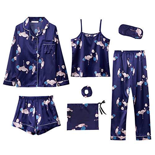 LUOY Conjunto Pijama Mujer,Flamingo Print Azul Marino Satén Damas 7 Piezas Conjunto De Pijamas Primavera Verano Ultrasoft Sexy Camisola Lencería Homewear Regalo Creativo, L (Etiqueta XL)