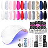Gel Nail Polish Kit with UV Light, opove Gel Nail Polish Set Soak Off with LED Nail Lamp Glitter Starter System for Nail Art -12 Colors - Best Reviews Guide