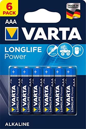 VARTA Longlife Power AAA Micro LR03 Batterie (6er Pack) Alkaline Batterie - Made in Germany - ideal für Spielzeug Taschenlampe Controller und andere batteriebetriebene Geräte