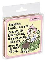 Tree-Free Greetings 4枚セット コルク裏コースター、3.75 x 3.75インチ、Aunty Acid Wish I Was A Cat (EC96593)