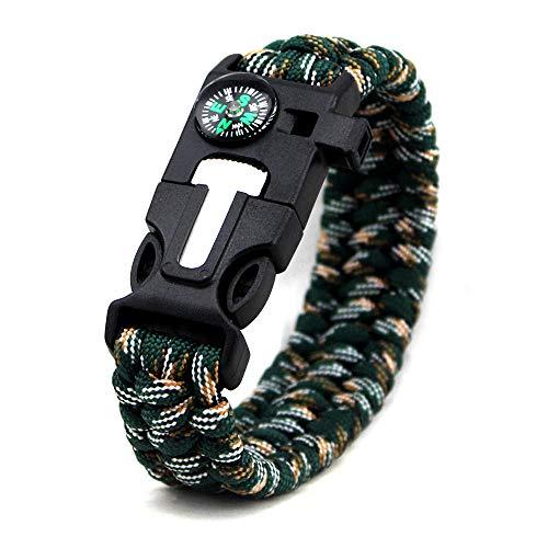 DLSM Seven-core Umbrella Rope Bracelet Decorative Bracelet Compass Survival Whistle Emergency Flintstone Bracelet-2pcs-Mountain camouflage
