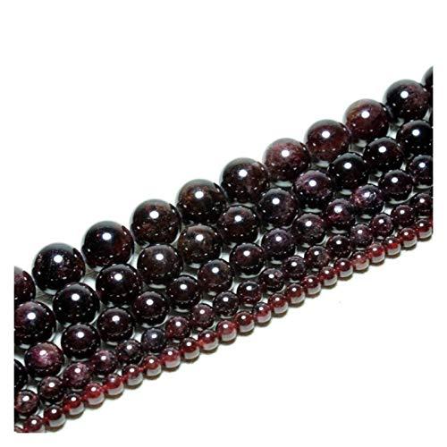 HETHYAN Natural Dark Flojo de los Granos Redondos de Color Rojo Granate for Las Mujeres joyería Que Hace la Pulsera de DIY 4/5/6 mm (Item Diameter : 5mm 72ppcs)