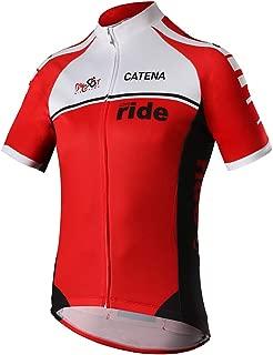 CATENA Men's Cycling Jersey Short Sleeve Shirt Running Top Moisture Wicking Workout Sports T-Shirt Red