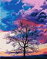 大人のための数字キットによるペイント子供初心者DIY油絵、ブラシとアクリル絵の具アートクラフト、家の壁の装飾抽象的な木の風景-50x70cm-額装