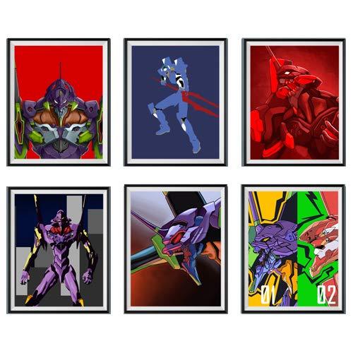 Super Robot Eva 01 Neon Genesis Evangelion Digital Manga Anime Fan Art Gallery Canvas Wall Decoration Art Prints Poster for Living Room,8 x 10 Inches,No Frame,Set of 6