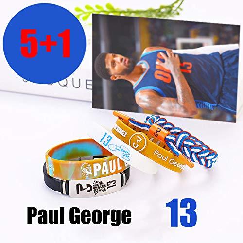 ZZH Braccialetti Silicone Motivazionali Stella NBA Set,Bracciale Fluorescente,Braccialetto,Bracciale Tessuto Mano,Bracciale Colore Misto,Bracciale Sportivo Unisex,Paul-George1