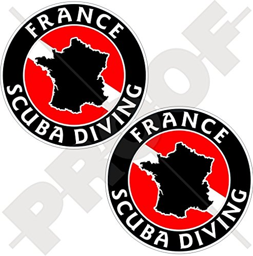 Lot de 2 autocollants circulaires en vinyle Motif drapeau de la France Scuba 75 mm