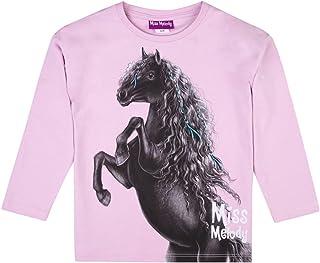 Miss Melody Niñas T-Shirt, Camisa de Manga Larga, Violeta
