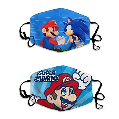 NHH Three Packs Packs Super M_Ario Mask Face Cover, Air Anti Dust Mouth Washable and Reusable for Kids White