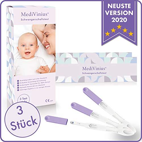 MediVinius 1x, 3x, 5x oder 10x Schwangerschaftstest mit schnellem Ergebnis in unter 5 Minuten I Zuverlässige Pregnancy Test Strips I Frühtest, Hcg Test - 3 Stück