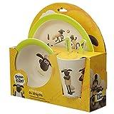 EliteKoopers 1 juego de vajilla de bambú compuesto Shaun la oveja reutilizable para niños para uso doméstico