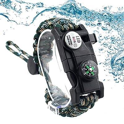 Daarcin Survival Paracord Bracelet,Fire Starter,Waterproof SOS Light, Compass, Whistle, Adjustable AK87 20 in 1,Outdoor Ultimate Tactical Survival Gear Set,Gift for Kids,Men