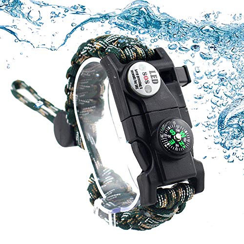 Daarcin Survival Paracord Bracelet,Fire Starter,Waterproof SOS Light, Compass, Whistle, Adjustable AK87 20 in 1,Outdoor Ultimate Tactical Survival Gear Set,Gift for Kids,Men