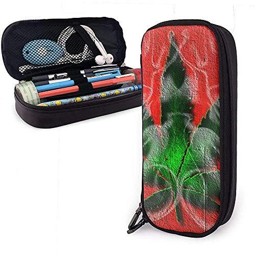 Eine grüne Ahornblatt niedlich Stift Federmäppchen Leder große Kapazität Doppelreißverschlüsse Bleistift Tasche Stifthalter Box 20cm * 9cm * 4cm