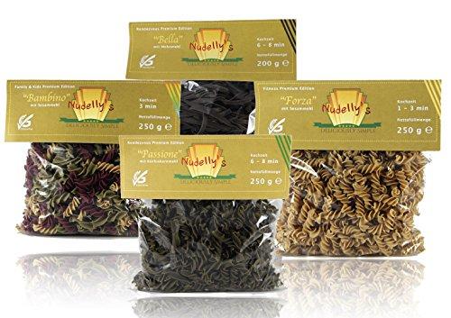 Nudelly's Quattro Premium, glutenfreie Pasta im 4er-Pack, low-carb, paleo, Kürbiskernmehl, Sesammehl, Mohnmehl, Eier-Nudeln mit Tapioka-Stärke als Tagliatelle u. Fusilli